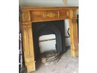 Solid wood fireplace & cast iron fire for sale