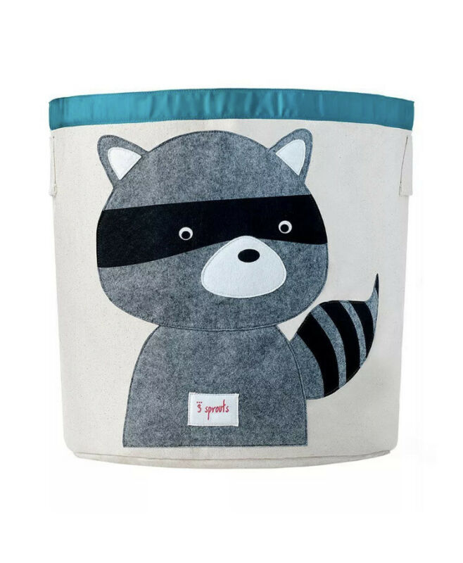 3 Sprouts Canvas Storage Bin Laundry and Toy Basket for Baby and Kids, Raccoon