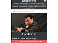 2 Lionel Richie tickets Hove cricket ground. DD3, row R, seats 13/14. THIS Saturday