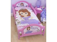 Princess Sofia Toddler Bed with Mattress and Bedding like new