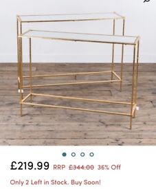 *NEW* Parisienne 2 Piece Nest of Tables / Console - Gold and Mirrored RRP £344
