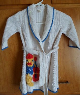 1950s Chenille Cat Playing Cello Childs Bathrobe Stray Cat Rockabilly