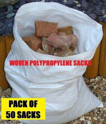 50 x Tough Woven Polypropylene Builder Rubble Sacks Bags *ULTRA STRONG * 45 X 60