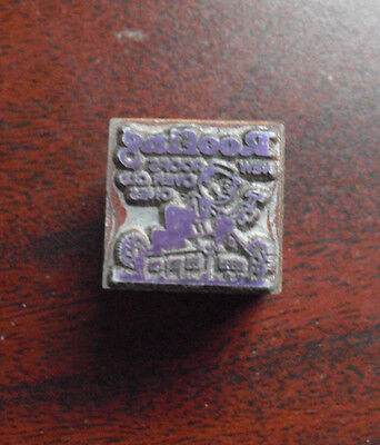 Vintage Wood Metal Printer Block Stamp - Roofing Company With Logo