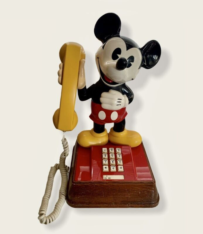 WALT DISNEY MICKEY MOUSE TOUCH BUTTON TONE PHONE TELEPHONE 1976 VTG OLD ANTIQUE