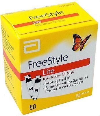 50 Freestyle Lite Diabetic TEST STRIPS Box Exp 2020 Free Ship!! Dents/Dings