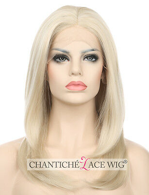 Short Bob Lace Front Wigs Light Blonde Synthetic Hair Lace Wigs For White Women