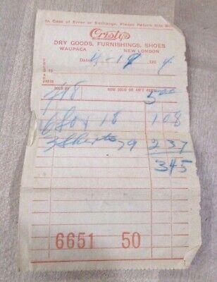 1924 Store Bill  Christy's Dry Goods Waupaca Wisconsin  >