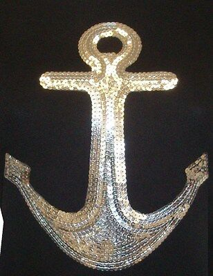 SILVER  SEQUIN ANCHOR  IRON ON TRANSFER,TANK TOP, T-SHIRTS -