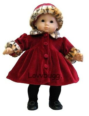 "Lovvbugg Red Coat Leopard Trim Hat for 15"" Bitty Baby Doll Clothes"