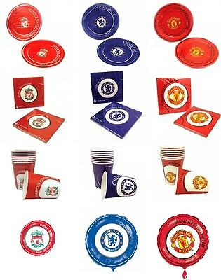 Chelsea Manchester United Liverpool Birthday Party Plates Napkins Cups - Football Plates
