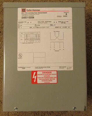 New Cutler Hammer S48g11s05n Dry Type Distribution Transformer 5 Kva 480 Volt