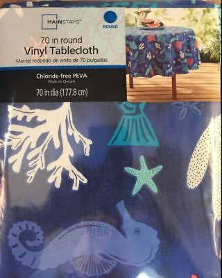 "Vinyl Tablecloth  Ocean Sea Life  Fish Seahorse Coral 70"" round with backing"
