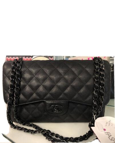 CHANEL Chevron SO BLACK Classic Double Flap Jumbo Flap Bag