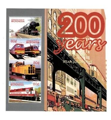 Micronesia 2004 - 200 Years Of The Steam Locomotive - Sheet of 4 Stamps - MNH