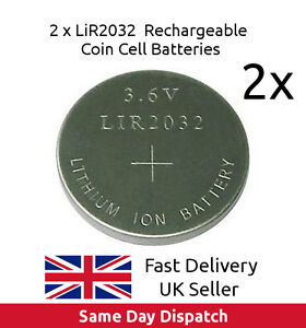 2 x 3.6V LiR2032 Rechargeable Coin Button Cell Battery Li-ion replace CR2032, UK