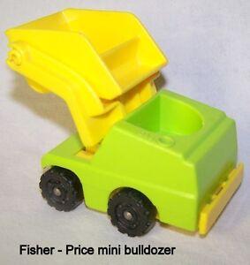Vintage Fisher Price mini Little People bulldozer, hard plastic