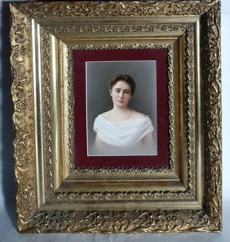 Antique 19th Century German KPM Porcelain Painting Plaque Woman