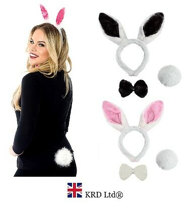 3Pc BUNNY RABBIT SET Headband Ears Tail Bow Tie Easter Halloween Hen Fancy Dress