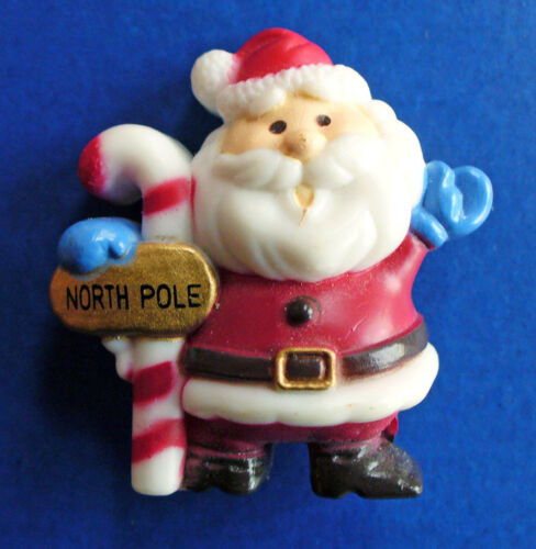 Russ PIN Christmas Vintage SANTA North Pole CANDY CANE Holiday Brooch GOLD