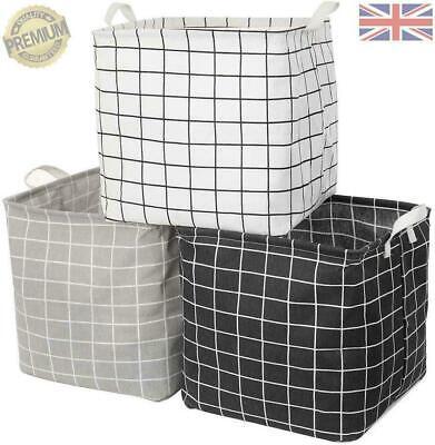 3 Pack Storage Cube Basket Bins Black, Grey, White Foldable box Ikea style cube