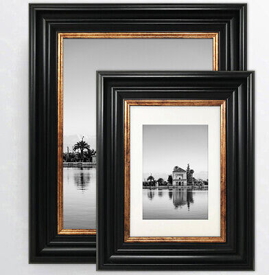 Photo Frame Vintage Style Black Gold Picture Wide Various Sizes with Mounts UK