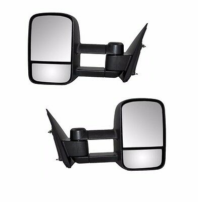 For 99-06 Silverado Sierra Pickup Towing Manual Telescoping Mirrors Black Set