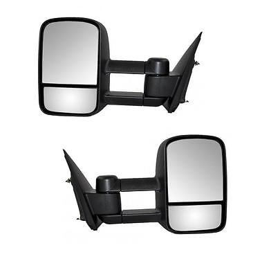 For 99-06 Chevy Silverado GMC Sierra Black Tow Manual Telescoping Side Mirrors