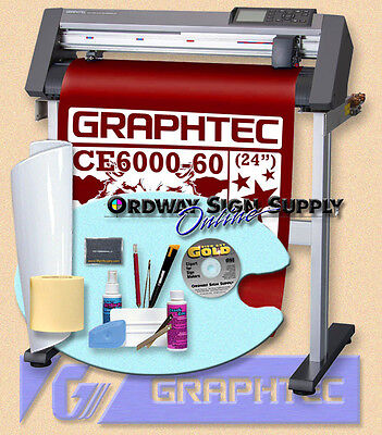 "Graphtec CE6000 60 24"" Vinyl Plotter Cutter w Stand & Accessories 3yr Wrnty OBO"