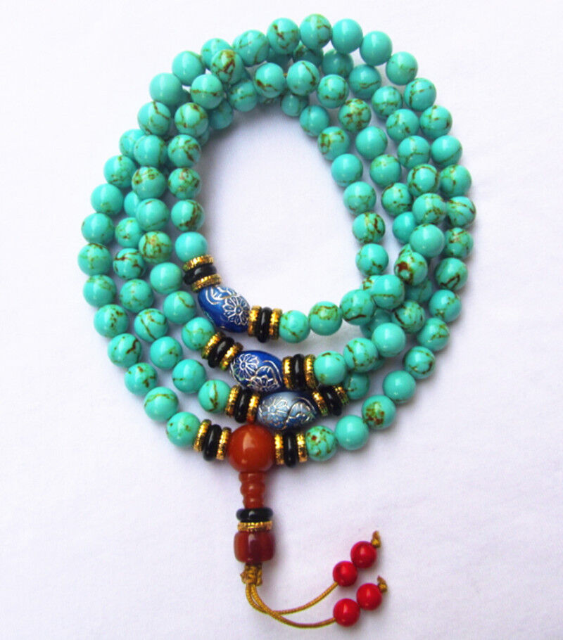 Tibet tibetan turquoise buddhist buddha prayer bead mala bracelet Dzi eye NR