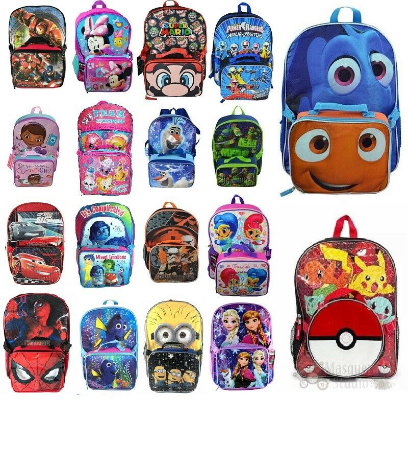 "16"" Disney Marvel Nickelodeon Large School Backpack with Det"