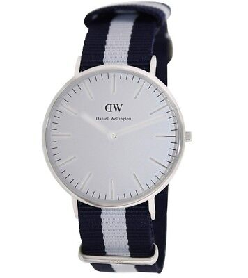 New Daniel Wellington Men's 0204DW Glasgow Stainless Steel Watch Striped Nylon