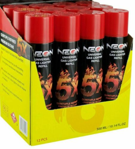 12 Cans Neon Butane Gas 300ml 5x Refined Filtered Lighter Refill Fuel