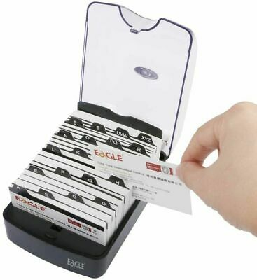 Business Card File Holder Name Case Storage Box Organizer With Dividers Index