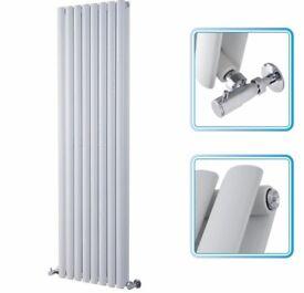 1600mm x 472mm - White Upright Double Panel Designer Radiator - Oval Tubes - NEW
