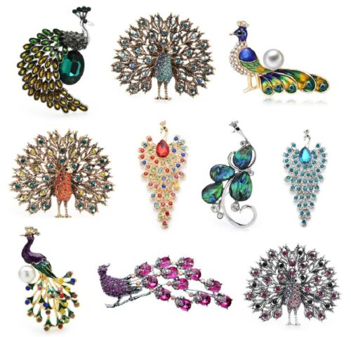 Vintage Style Rhinestone Peacock Brooches Fashion Party Pins Women Jewelry Gift