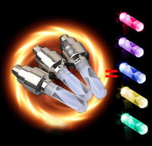 4 x Multi Colour LED Neon Wheel Tire Tyre Valve Dust Cap Spoke Lights Car Bike