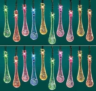 - Color changing Raindrop Lights Solar Outdoor  6 ft. Tall String with 20 Raindrop