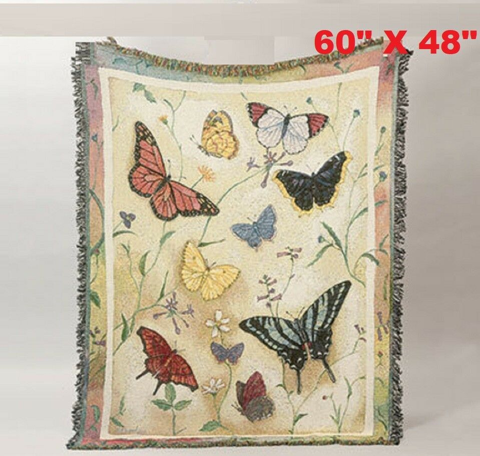 Butterfly Throw 2-ply woven afghan is 100% cotton 60″ x 48″ Made in USA Cozy Afghans & Throw Blankets