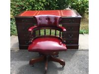 Reproduction Antique Style Desk, with Chesterfield Captain's chair, both in great condition.