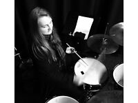 Young female drummer available for gigs.