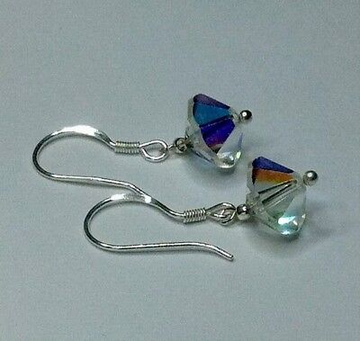 earrings, Vintage 1950s Aurora Borealis Crystals - new 925 Solid Sterling Silver