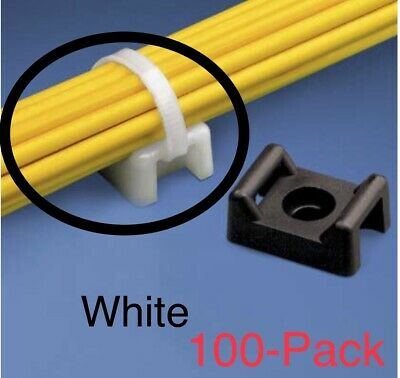 100 Pieces Pack 22mm Cable Tie Mount Base Saddle Wire Holder Screw-in Lot White