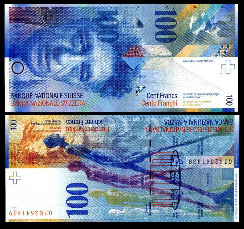 SWITZERLAND 100 FRANCS 2007 P 72 UNC