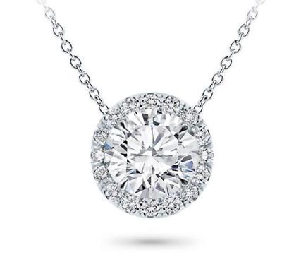 2 CT Halo Necklace14K Pendant White Gold Natural GIA Diamond Round Cut Brilliant