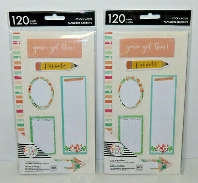 Lot Of 2 - The Happy Planner 6 Sticky Notes Notepads 120 Sheets Pastel Floral