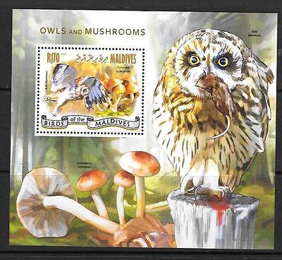 MALDIVE ISLANDS 2014 OWLS & MUSHROOMS MNH