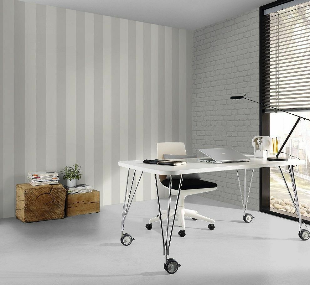 neu rasch breite streifen wei silber modern luxus tapete 286632 ebay. Black Bedroom Furniture Sets. Home Design Ideas