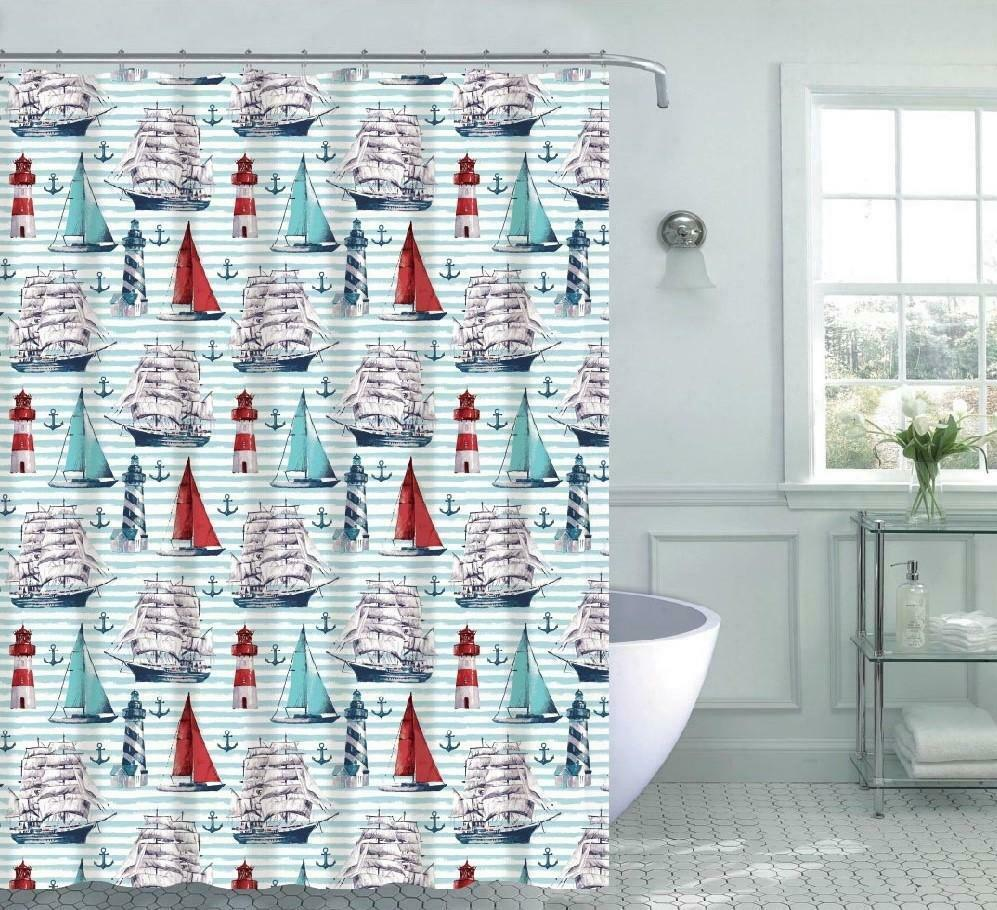 Nantucket Lighthouses Anchors /& Sailboats Fabric Shower Curtain Standard Size