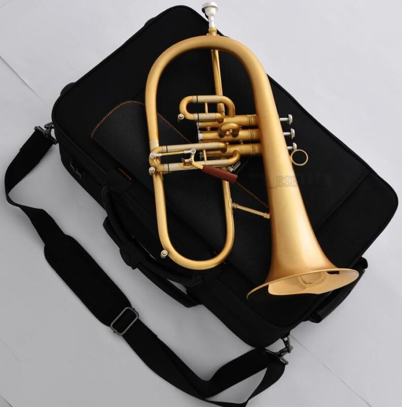 Professional Level Matte Gold Flugelhorn Gold Brass Bell Trigger HORN Pro.Case